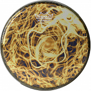 REMO BD-0008-00-SC016 Doumbek Drumhead, R Series, SKYNDEEP® Clear Tone, 8` Diameter, 1/2` Collar, Wide Hoop, `Yellow Mist` Graphic